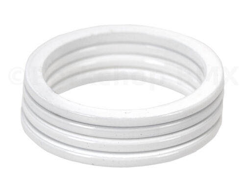 """WHITE 2mm SET of 4 Bicycle BMX or MTB headset spacers for 1 1//8/"""" threadless"""
