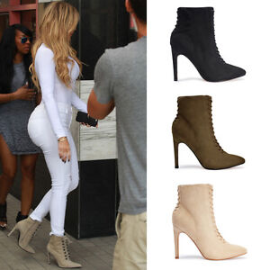 f0589deb769a Ladies Womens High Heel Lace Up Pointed Toe Ankle Boots Kylie Jenner ...
