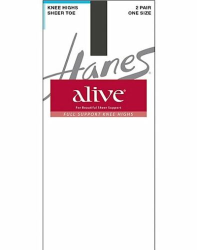 Hanes Alive Full Support Sheer Knee Highs 2-Pack All Day Comfort Cool Sheer Toe