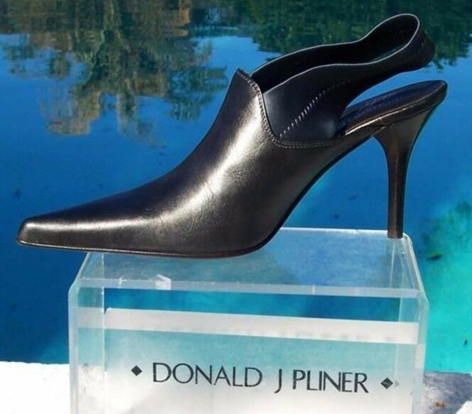 Donald Pliner Metallic Leather Boot shoes New Satin Elastic Sling Pump 6 NIB