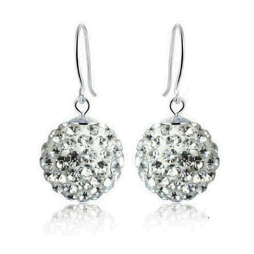 Solid 925 Sterling Silver Women/'s Wedding Bridal Crystal Ball Earring IE33