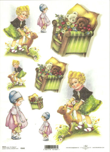 Rice Paper for Decoupage Scrapbooking Vintage Children Girl A4 ITD R343