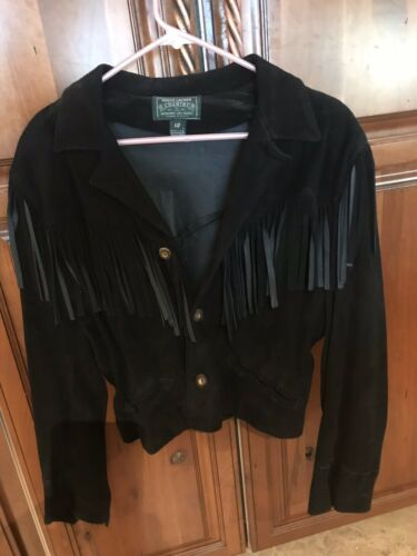 RALPH LAUREN Black Leather Fringed Women's Jacket