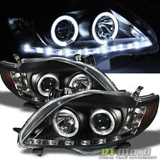 Blk 2009-2010 Toyota Corolla LED Halo DRL Projector Headlights 09-10 Left+Right
