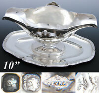 """Elegant Antique French Sterling Silver 10"""" Sauce or Gravy Boat, Tray, 1832-1840"""