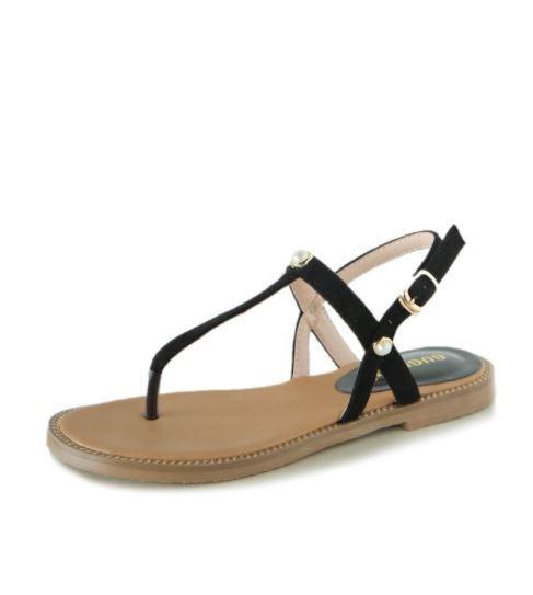 Sandali eleganti bassi  ciabatte negro leggeri comodi pelle sintetica  9951