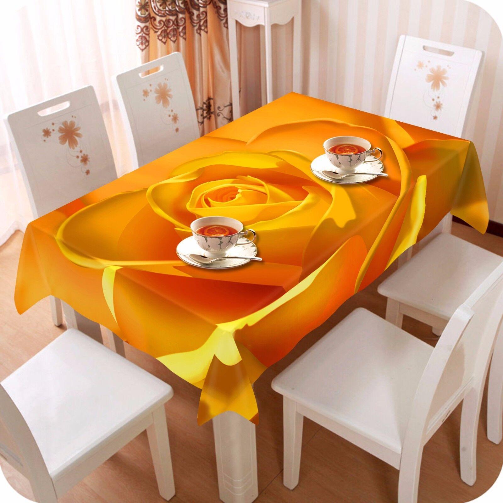 3D Yellow Tablecloth Table Cover Cloth Birthday Party AJ WALLPAPER UK Lemon