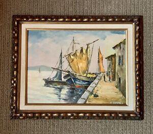 Vintage-Framed-Signed-Oil-Painting-Sailing-Boats-Dock-Harbor-Scene-Calif-Artist