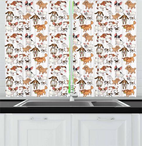 Dog Lover Decor Kitchen Curtains 2 Panel Set Window Drapes 55 X 39 Ambesonne Window Treatments Hardware Garden Curtains