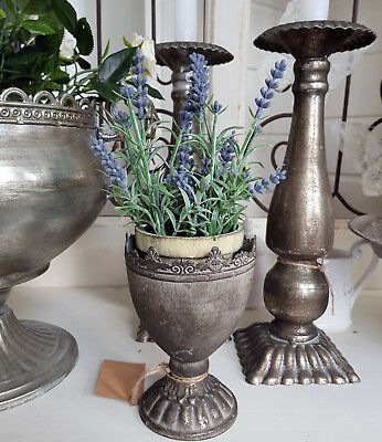 Pokal Amphore Pflanzschale auf Fuss Metall Grau Shabby Vintage Landhaus Deko 15c