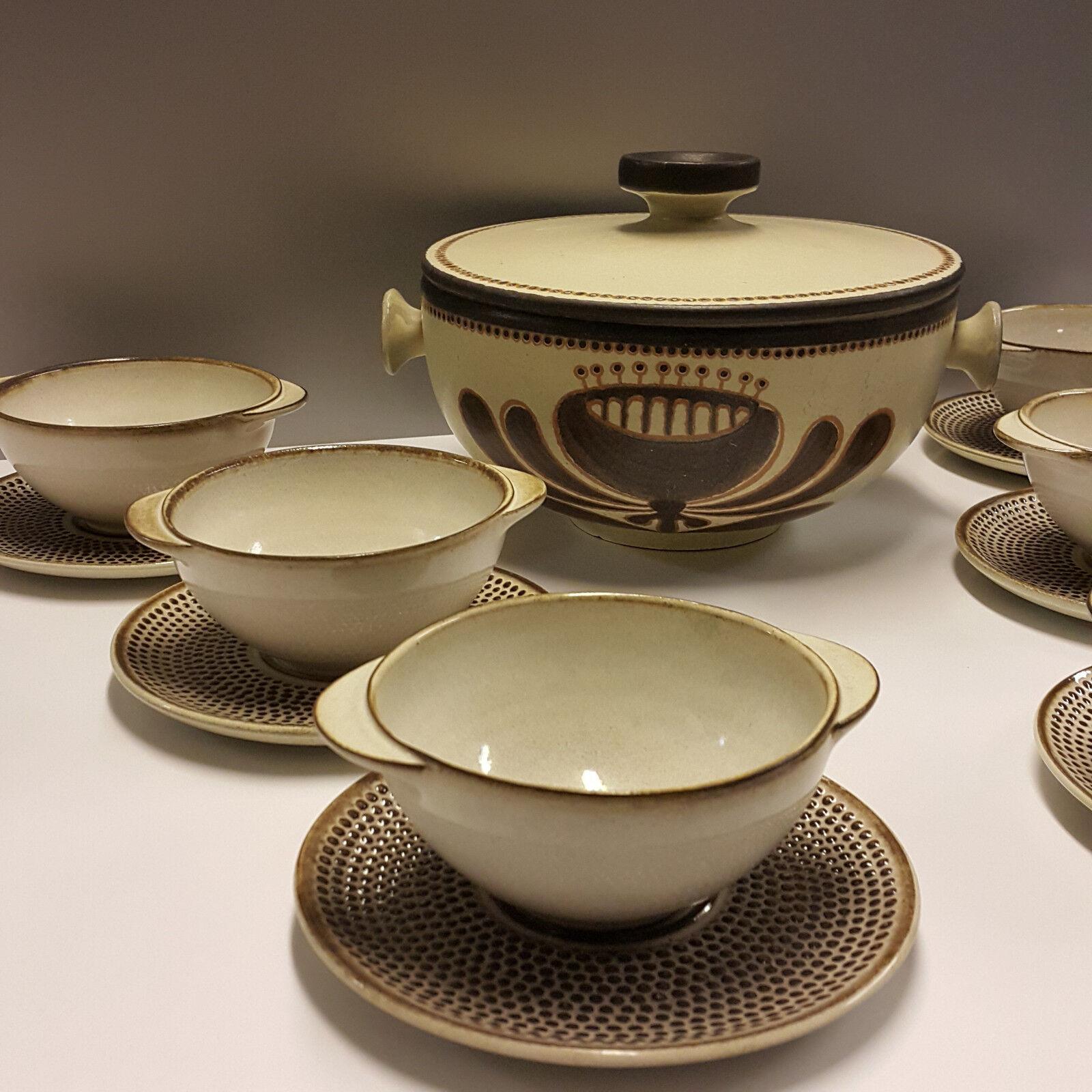 Ceramano 6 Soupes tasses avec sous assiette & soupière Perl Agathe de grès RAR