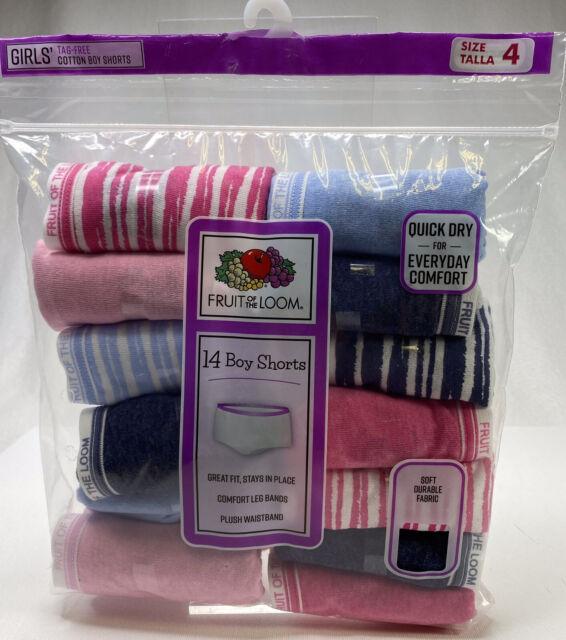 Fruit of the Loom Girls Big Cotton Boyshort Underwear 14 Fashion Assorted 14 Pack