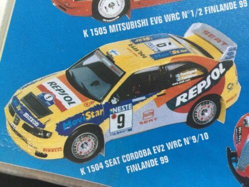 Rallye Finnland 1999 Seat Córdoba E2 Repsol,Gardemeister//Rovanperä 1//43 Decal