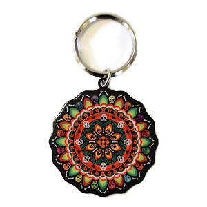 Day-of-the-Dead-Mandala-Metal-Key-Ring-Keyring-Evilkid-Dia-de-los-Muerto-Skulls