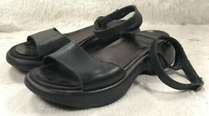 Dansko-Sandals-Flip-Flops-Womens-Black-Leather-Ankle-Strap-Peep-Toe-Size-38-EUC