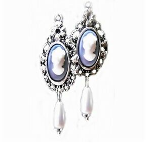 Earrings Black Cameo white pearl Vintage Style antique silver clip on or pierced