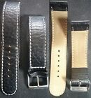 Black Leather band 20mm - 20mm for watch Excellent Cond. L@@K !