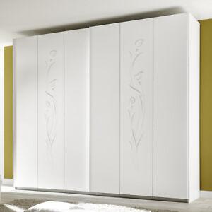 Dettagli su Mobile armadio scorrevole guardaroba CLEOPATRA per camera da  letto bianco opaco