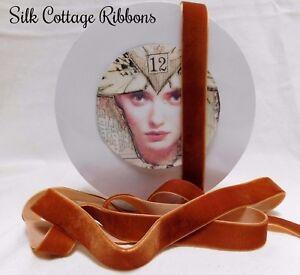 3-YDS-VELVET-RIBBON-3-4-034-Ginger-TRIM-SEW-BOWS-Silk-Cottage-Ribbon