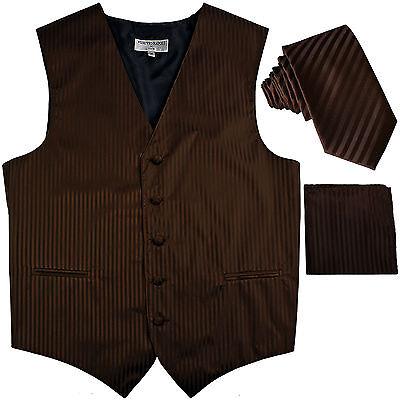 New Men/'s Formal Vest Tuxedo Waistcoat/_necktie set stripes wedding Olive Green