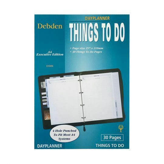 Debden Dayplanner EX5006 Executive Things to Do   A4   30 Pages 4 Ring  68E002