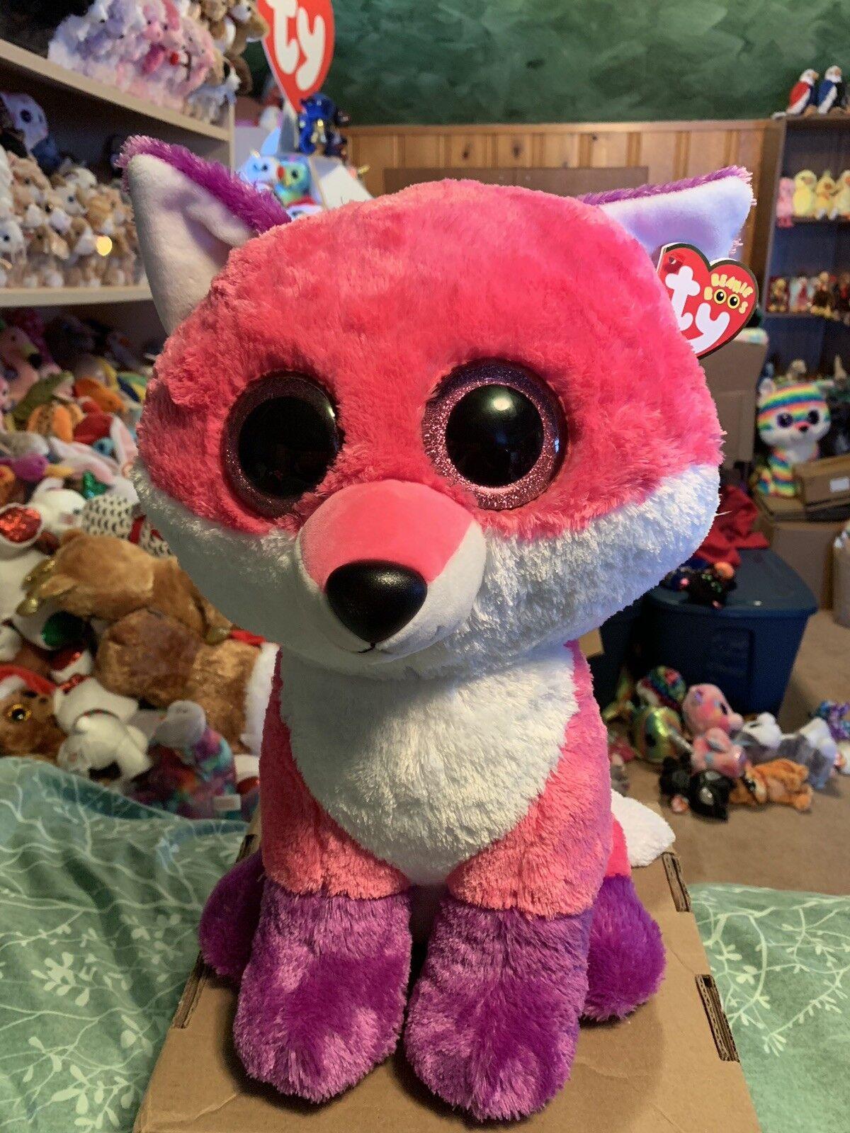"""Ty JOEY -Pink White Purple Fox Jumbo 18"""" Beanie Boo Retired EXCLUSIVE RARE HTF"""