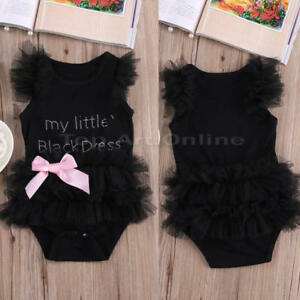 76717f826 Baby Girls Clothes My Little Black Dress Bodysuit Romper Jumpsuit ...
