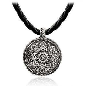 Geometrie-Anhaenger-Silber-tibetischer-Yoga-Vintage-Wicca-Blume-Halskette