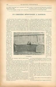 Sarcophage-Cimetiere-Merovingien-Santeuil-Val-d-039-Oise-GRAVURE-ANTIQUE-PRINT-1900