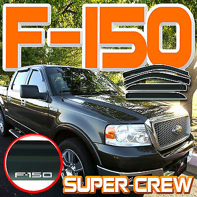 For 2004-2008 Ford F150 Super Crew Side Window Deflector Vent Shade Visors Guard