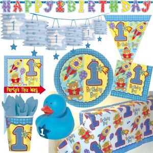 1 geburtstag junge hellblau deko party set teddy b r. Black Bedroom Furniture Sets. Home Design Ideas
