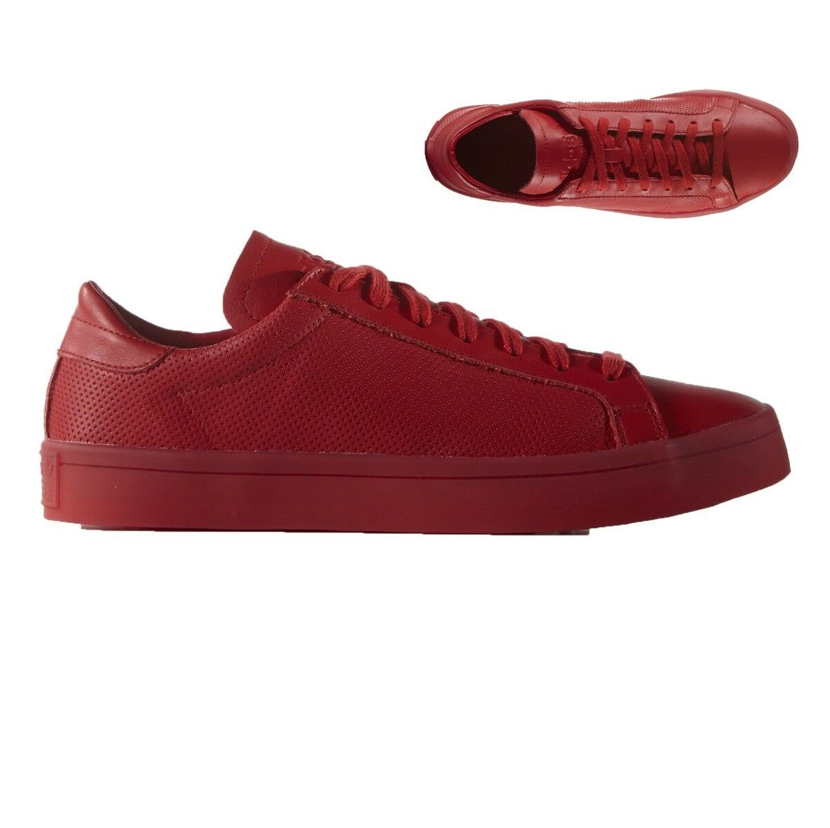Adidas courtvantage adicolor homme Trainer Rouge Chaussure UK Taille 8 RRP £ 67/-