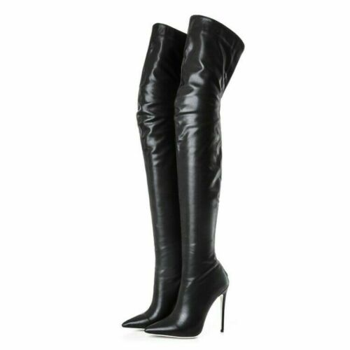 Womens Thigh High Boots Pointy Toes Motorcycle Back Zipper Clubwear Riding Heels