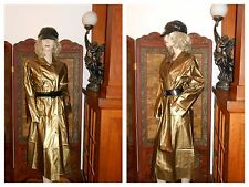 Vtg S/M Shiny Gold PVC Vinyl Raincoat Rain Jacket Slicker Trench Coat Rain Hat