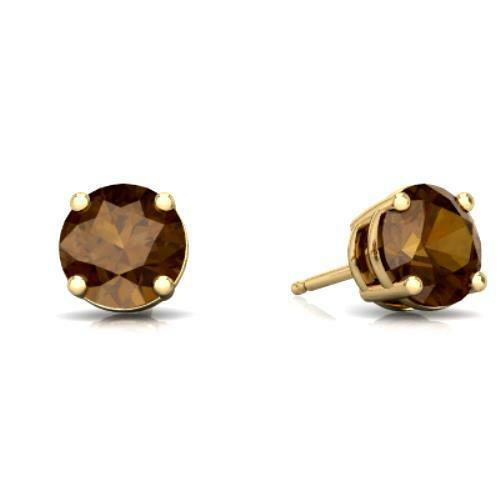2 Ct Natural Smoky Quartz Round Stud Earrings 14Kt Yellow Gold