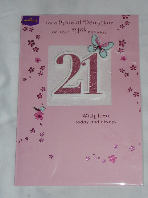 Special Daughter 21st Birthday Card Hallmark Glittered Card With