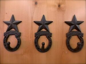 3-BROWN-ANTIQUE-STYLE-CAST-IRON-WELCOME-STAR-HORSESHOE-HOOKS-wall-western-cowboy