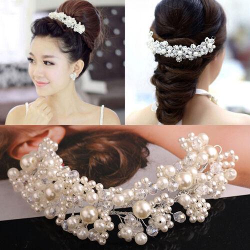 Crystal Diamante Rhinestone Flower Beads Hair Pins Slide Clip Grips Bridal