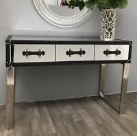 Chrome Console Table Venetian Mirrored Furniture Large Modern Hallway Side Glass