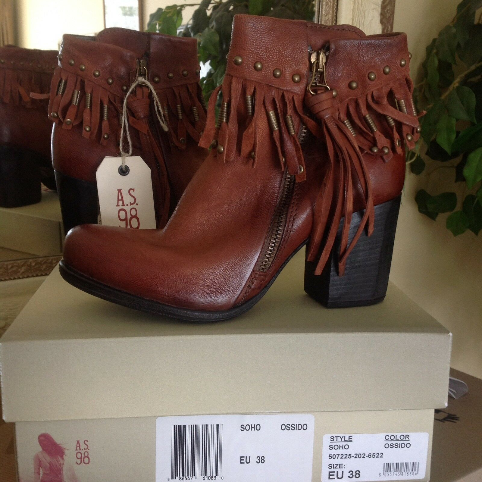 A.S. 98 Soho Womens Fringed Leather Moto Ankle Boot  / 9.5-10M MSRP $375