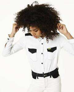 NEW-WOMEN-WRANGLER-by-PETER-MAX-RETRO-WESTERN-SHIRT-WHITE-BLACK-15-SILK-XS-S-M-L