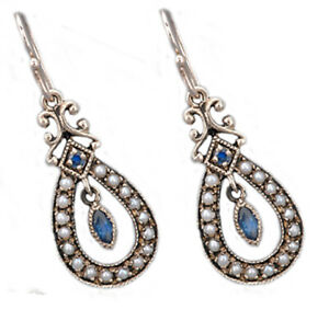 Genuine-9ct-SOLID-Gold-NATURAL-Sapphire-amp-Pearl-Drop-EARRINGS-Vintage-charm