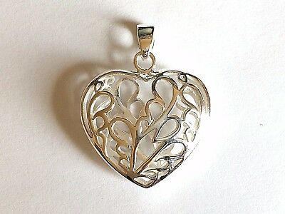 BRAND NEW Genuine Solid 925 Sterling Silver Filigree Ladies Puff Heart Pendant