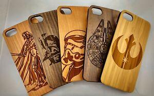 Laser-sculpte-Vrai-Bois-Coque-Star-Wars-Apple-iPhone-5-5S-6-6S-7-6-7-SE