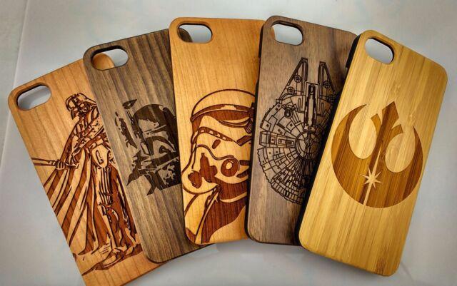 Laser sculpté Vrai Bois Coque Star Wars Apple iPhone 5/5S/6/6S/7/6 7 SE