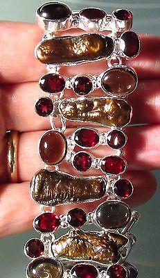 925 silver 68gr cab smoky quartz, cut garnet & biwa pearls bracelet.
