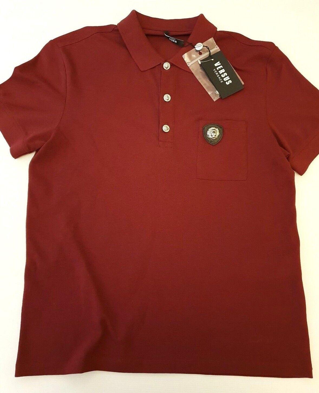 165353b3 VERSACE LIONS HEAD polo slim t-shirt XXL in wine red BU90344 VERSUS fit  nwqpne9015-T-Shirts
