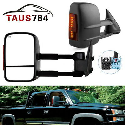 FOR 2003-2006 SILVERADO SIERRA PAIR POWER+LED STURN SIGNAL TOWING MIRROR CHROME