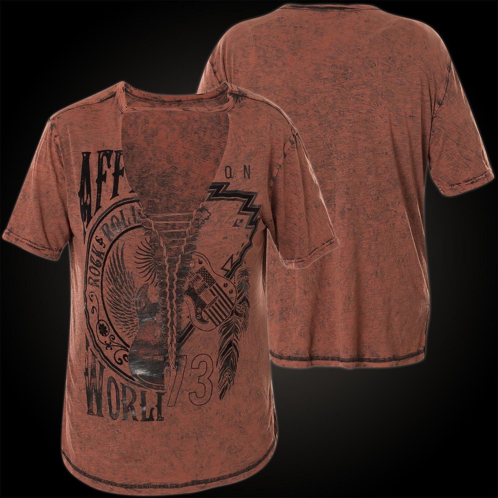 AFFLICTION Damen T-Shirt World Tour Split Braun