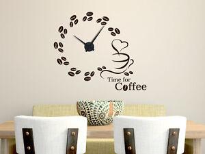 Wandtattoo Uhr Wanduhr für die Küche Spruch Time for Coffee Kaffee ...